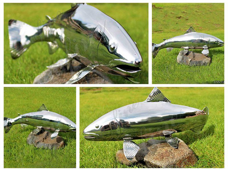 Large Metal Fish Sculpture Stainless Steel Yard Art