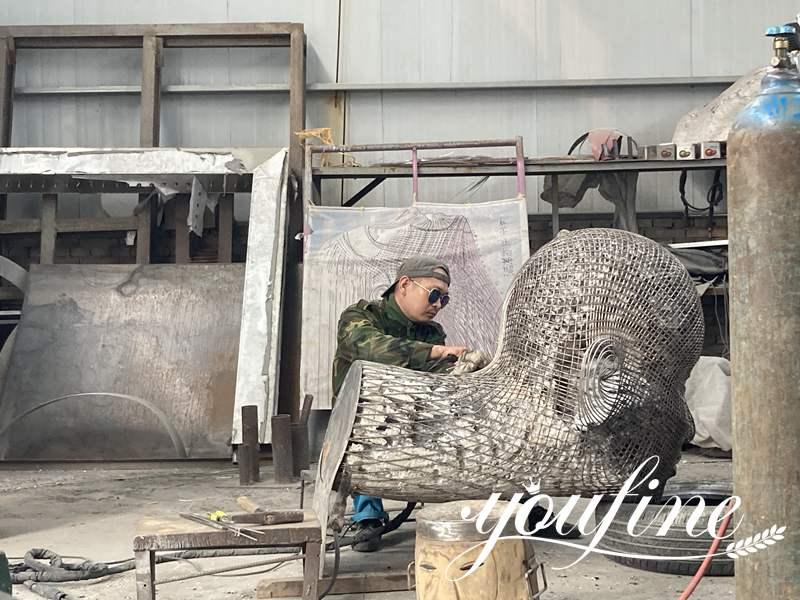 Giant Metal Figure Sculpture Square Decoration for Sale CSS-326