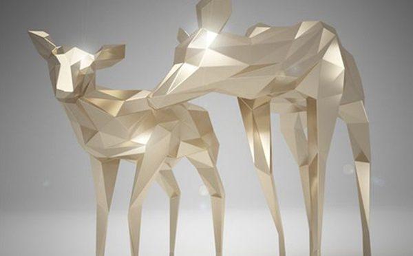 Stainless steel geometry deer sculpture